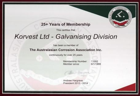 Members of the Australasian Corrosion Association for 25 Years